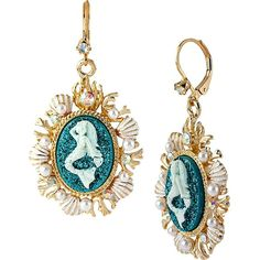 Betsey Johnson Sea Jewels Mermaid Cameo Earring (£29) ❤ liked on Polyvore featuring jewelry, earrings, accessories, betsey johnson, boucles d'oreilles, drop earrings, teal, glitter earrings, teal earrings and betsey johnson jewelry