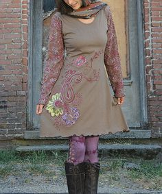 Look at this Jayli Tan & Red Floral Embroidered A-Line Dress - Women on #zulily today!