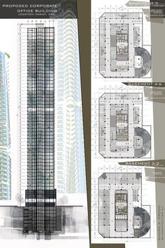 Design 8 / proposed corporate office buildling / high-rise b Office Building Plans, Building Design Plan, Office Building Architecture, Building Layout, Office Plan, Architecture Plan, Office Buildings, Parking Plan, Parking Building