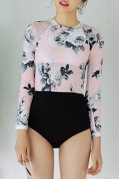 Women's Stylish Floral Print Long Sleeve Round Neck One Piece Swimwear Mobile Modest Swimsuits, Cute Swimsuits, Long Sleeve Bikini, Cute Bathing Suits, Summer Suits, One Piece Swimwear, Rockabilly, Summer Vibes, Dance Outfits