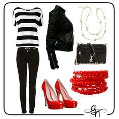 Playera a rayas y jeans negros con un toque de color rojo