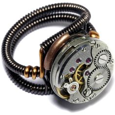 Steampunk Ring Antique Vintage Watch Movement ($35) ❤ liked on Polyvore featuring jewelry, watches, steam punk jewelry, steam punk watches, steampunk wristwatch, antique watches and vintage wristwatches