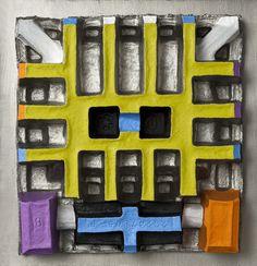 Imballaggio 002, 2011, olio e acrilico su cartone sagomato, su legno, cm 44 x 42.