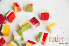 Fruit ice cubes, perfect for a sweet tooh, drink or as a snack. recipe stright from mouvenourishbelieve.com ^_^