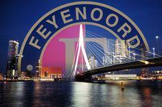 Logo Feyenoord and the Erasmus Bridge Rotterdam, Fifa Football, Mombasa, Sports Humor, Netherlands, Bridge, Skyline, Logos, City