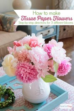 Get the instructions for making three types of paper flowers from tissue paper, and have beautiful blooms whenever you want! This gorgeous bouquet will be absolutely lovely for a Mother's Day…