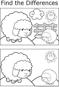 Great for quiet activities and art, this printable coloring page shows several differences between the two pictures of two sheep on a hill. Kindergarten Worksheets, Worksheets For Kids, Infant Activities, Preschool Activities, Find The Difference Pictures, Hidden Pictures, Kids Learning, Sheep, Coloring Pages