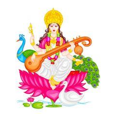 Goddess Saraswati — Stock Illustration