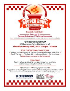 Ferguson Enterprises and the Ewing Companies are hosting the Souper Bowl Throwdown and Silent Auction to benefit the Interfaith Food Pantry on Thursday, January 19, 2017.