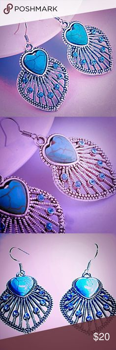 18K W/G/P 925 Bohemian Turquoise Leaf Earrings 18K W/G/P 925 Bohemian Turquoise Leaf Earrings. Jewelry Earrings