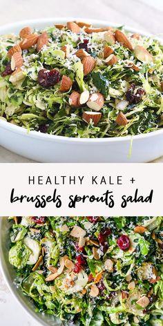 Kale Salad Recipes, Easy Healthy Recipes, Veggie Recipes, Vegetarian Salad Recipes, Delicious Salad Recipes, Paleo Kale Salad, Cooking Recipes, Cooked Kale Recipes, Healthy Brussel Sprout Recipes
