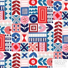 Featured Designer: Jocelyn Proust - Surtex/Blueprint 2017 - Four Corners Art Collective at Surtex booth or head on over to www. Graphic Patterns, Geometric Patterns, Textile Patterns, Geometric Art, Color Patterns, Print Patterns, Textiles, Boho Pattern, Pattern Art