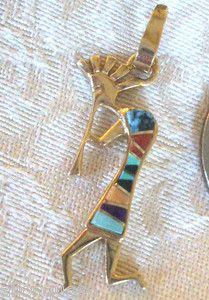 Vintage Navajo 14k Gold Kokopelli Pendant Signed Calvin Begay Inlay | eBay