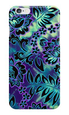Go Tiki Wild Phone Cases by PolkaDotStudio #Polynesian #tie dye #vintage #tropical #floral #flowers on #fashion #tech #cases for #iPhone. Other tech and #home products available. Great #gift.