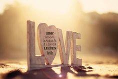 The Language of Love, 5 x 7 Print. Love, Heart, Beach, Sand, Sun, Glow, Amor, Amore, Amour, Lieben, Liefde, Elsker. $18.00, via Etsy.