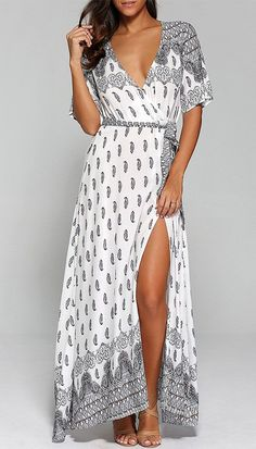 Surplice High Slit Paisley Maxi Dress Product description: Lightweight flowy maxi dress rendered in ethnic paisley print throughout. Featuring a plunging V surplice neckline and thigh-high slit. Maxi Dress With Slit, White Maxi Dresses, The Dress, Wrap Dress, Summer Dresses, Flowy Dress Casual, Summer Maxi, Sexy Dresses, Party Dresses
