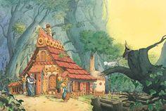 Illustration Hexenhaus, Grimms Märchen, Hänsel und Gretel, Kinderbuchillustration, Aquarell, Gru�kartenillustration