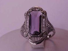 Art Deco  Unique 14k White Gold  Genuine Amethyst Filigree Ring ,1900s #Unbranded