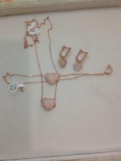 corazones circonio y plata con chapa de oro rosa