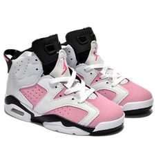 Kids Jordan 6 Retro White Black Pink ($51) ❤ liked on Polyvore featuring shoes, jordans, sneakers and kids
