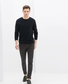 ZARA - MAN - FITTED TROUSERS - 230 black and dark grey