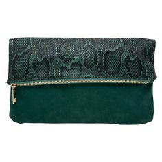 Green Foldover Snake and Suede Clutch