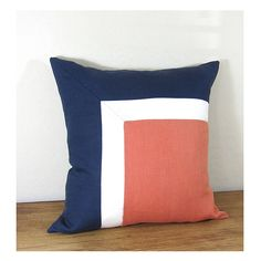 Side Square Modern Colorblock Pillow Cover - Navy/ Ivory/ Persimmon Combo. $39.00, via Etsy.