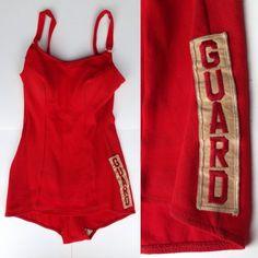 1950s 50s LIFEGUARD Uniform Swim Suit Bathing Swimsuit Red Guard Vintage ESTATE