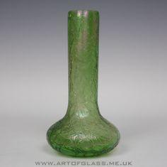 Antique Kralik Art Nouveau Bohemian iridescent green crackle glass vase