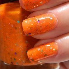 Orange Pop Nail Polish - Custom Blended Glitter Nail Polish
