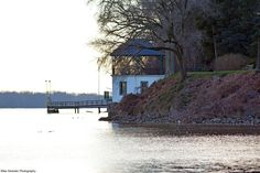 Glen Foerd's Boathouse at Philadelphia's northeastern boundary on the Delaware River, looking south from Andalusia and the Poquessing Creek.
