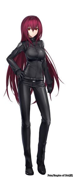 1girl absurdres alternate_costume belt black_gloves fate/grand_order fate_(series) full_body gloves hand_on_hip highres jacket long_hair pants purple_hair red_eyes scathach_(fate/grand_order) shijiu_(adamhutt) simple_background solo very_long_hair white_background