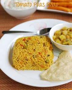 Tomato pulao, easy and tasty recipe! With tips and tricks to get perfect grains of pulao Rice Recipes, Indian Food Recipes, Vegetarian Recipes, Cooking Recipes, Peas Pulao Recipe, One Pot Meals, Easy Meals, Easy Lunch Boxes, Tasty Recipe