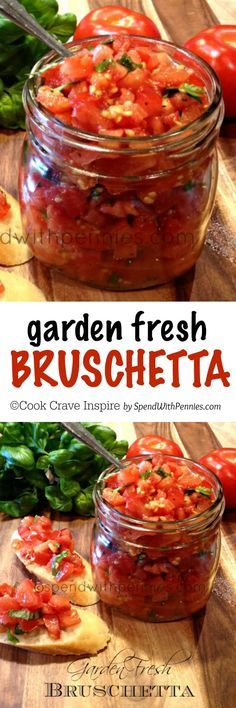 Perfect summer appetizer and deliciously simple to make… Garden Fresh Bruschetta! Perfect summer appetizer and deliciously simple to make! Perfect as an appetizer great over chicken. Use the best tomatoes you can find fresh basil! Clean Eating, Healthy Eating, Canning Recipes, Appetizer Recipes, Party Appetizers, Elegant Appetizers, Healthy Appetizers, Italian Recipes, Pesto