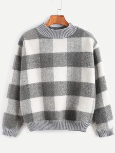 Contrast Ribbed Trim Check Plaid Sweatshirt — 0.00 € ------------color: Grey size: one-size
