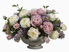 "A glorious top table design  WF1162-LV/BL 13""Hx20""Wx20""L Lilac/Rose/ Peony/Ranunculus in Metal Container Lavender Blue"