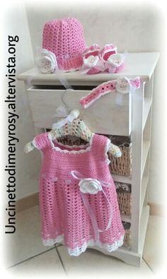 Dress, hat, headband and shoes crochet Girls