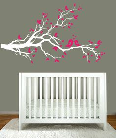 Wall Decal - pink and white tree branch with hearts decal with birds - vinyl wall decal. $69.00, via Etsy.