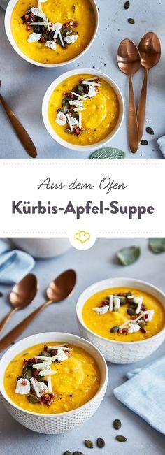 Wenn du Kürbis mit Gewürzen und Kräutern im Ofen röstest, entsteht eine Symphonie an Geschmack. Apfel und Speck als Topping machen diese Suppe zum Traum.