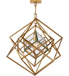 Visual Comfort Kelly Wearstler Cubist 22-inch Pendant in Gild, Small, Chandelier, Clear Glass KW5020G-CG photo