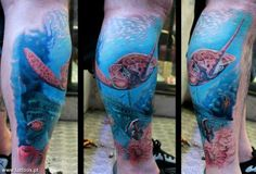 Interview with Kobay KronikTattoo Sea Life Tattoos, Sea Tattoo, Nature Tattoos, Word Tattoos, Body Art Tattoos, Beach Tattoos, Tattoo Pics, Underwater Tattoo, Tattoo Fundo Do Mar