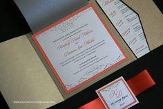 Vintage Wedding Pocket Invitation in Gold and Coral