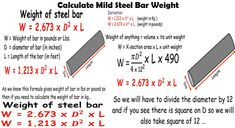 How to calculate weight of mild steel bar? Calculation of mild steel barweightin kg. Civil Engineering Handbook, Civil Engineering Books, Engineering Notes, Civil Engineering Construction, Construction Design, Building Elevation, Steel Bar, Calculator, Lab