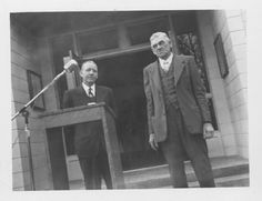 Dixon City Hall Dedication on January20, 1951. Located at 155 North Second Street. County Supervisor Phil Mower on the left and Former County Supervisor Carl E. Schmeiser on the right. DPL Archives 2005.8.2