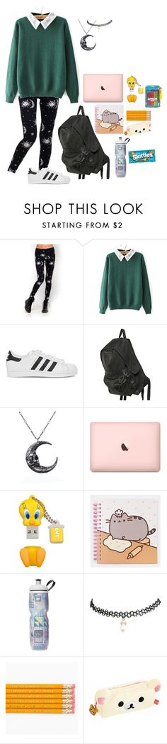 """When the moon fell in love with the sun..."" by btstrash13 ❤ liked on Polyvore featuring Motel, adidas Originals, Ann Demeulemeester, Pusheen, Wet Seal, cutekawaii and Paper Mate"