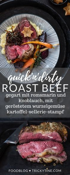 Roast beef with garlic and rosemary cooked in the oven, roasted root vegetables, potato celery butter mash, balsamic shallots - trickytine - Beef Recipes Hamburger Meat Recipes, Crockpot Recipes, Cooking Recipes, Healthy Recipes, Menu Rapido, Oven Roasted Root Vegetables, Stir Fry Meat, Bbq Meat, Roast Beef