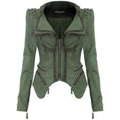 Lookbookstore Sharp Studded Notched Denim Jeans Coat Blazer Jacket... (£60) ❤ liked on Polyvore featuring outerwear, green blazer, green blazer jacket, blazer jacket and studded blazer