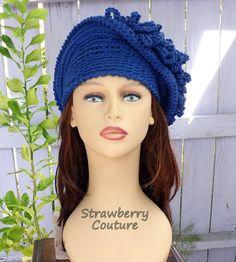 50th Birthday Gift for Women Crochet Hat Womens Hat Trendy Womens Crochet Hat Steampunk Hat African Hat Blue Hat LINDA 1920s Cloche Hat by strawberrycouture by #strawberrycouture on #Etsy