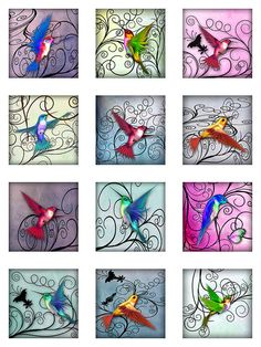 Hummingbirds Pastel Watercolor Paper Digital by pixeltwister