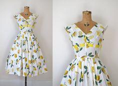 1950s Dress / 50s Lemon Print Sundress. $98.00, via Etsy.